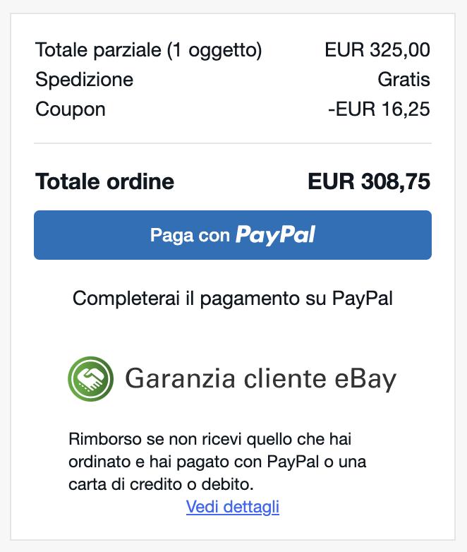 sconto coupon ebay